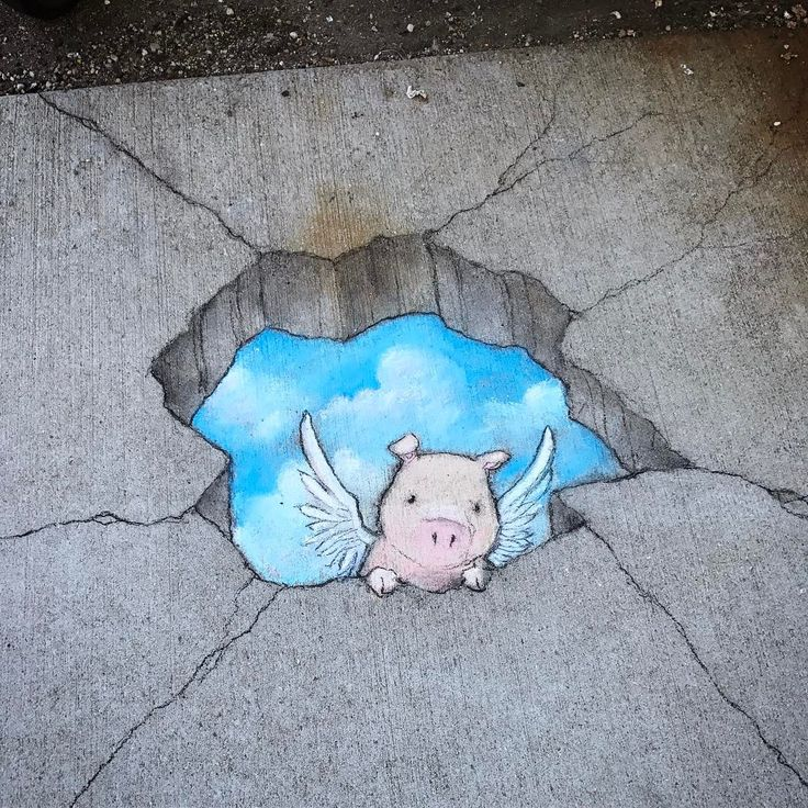 Just checking to see how things are going on your side #streetart #sidewalkchalk #skyhole #pigasus