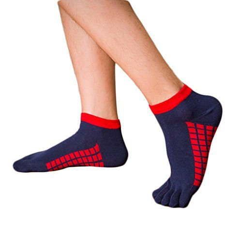 M-Egal 1 pair Non Slip Cotton Breathable Solid Colors Sports with Toe Grips Socks for Men navy blue *** Read more info by clicking the link on the image. #YogaSocks