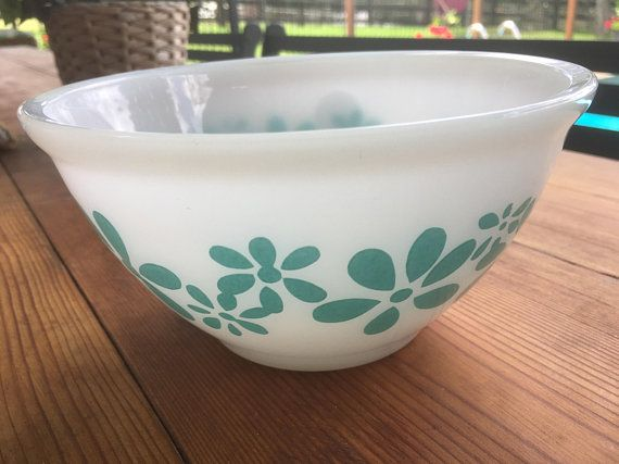 Vintage Pyrex White with Turquoise Flower Pyrex  Bowl-Nesting