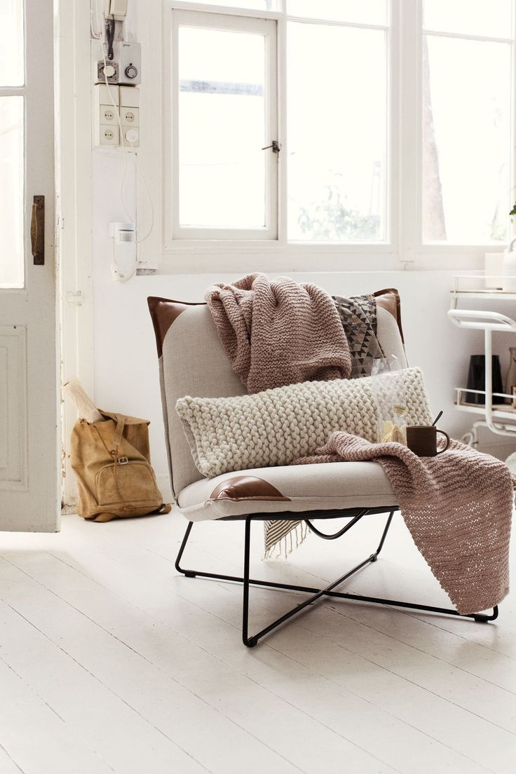 "Gorgeous scandi style chair (special edition of Jess Design's Cuscini/ Earl chair ""with special ears"") with natural linen blankets and knitted cushion."