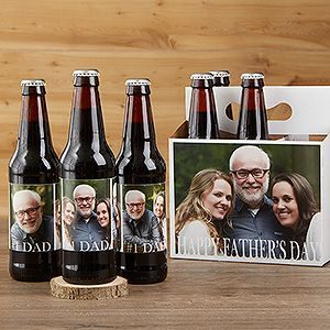 """LOVE this unique Father's Day gift idea for beer lovers! It's the """"Cheers to Dad"""" Personalized Photo Beer Bottle Labels and Bottle Carrier! You can upload 3 photos and add any message then put the labels on his favorite beer or soda - it's a great Father's Day gift idea for the dad who has everything!"""