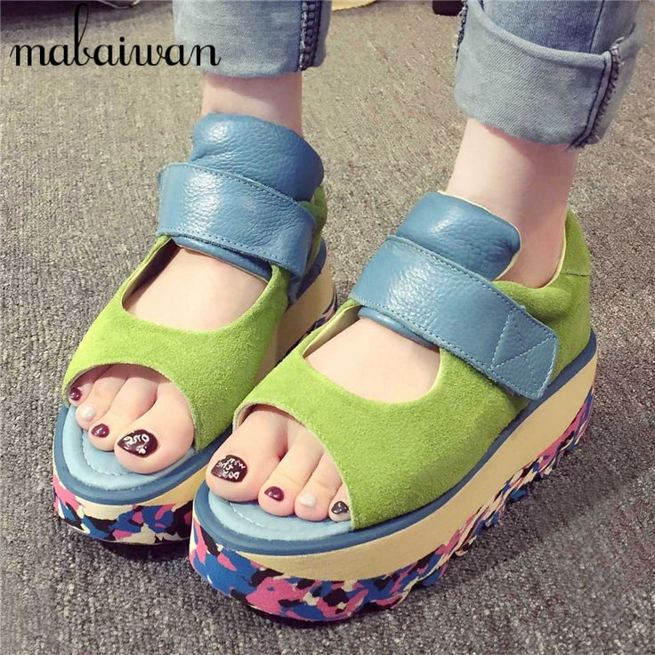 44.80$  Buy now - http://ali8m4.worldwells.pw/go.php?t=32689461807 - Multicolor Women Casual Shoes Platform Creppers Fashion Soft Leather Peep Toe Flat Shoes Woman Ballet Flats Espadrilles