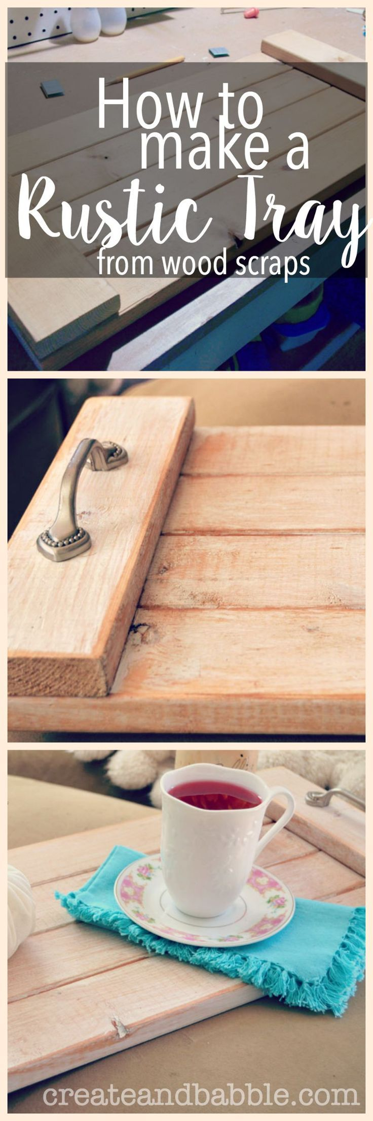 Shows how to make this pretty DIY rustic tray from wood scraps