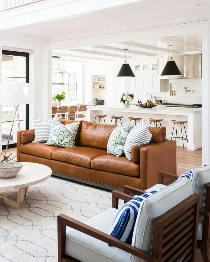 Leather sofa in bright and airy living room