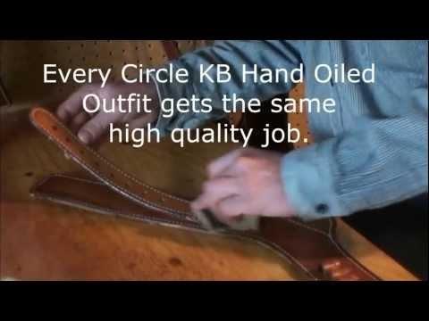 Custom western holster maker Brett Park oils a gun belt. www.circlekb.com
