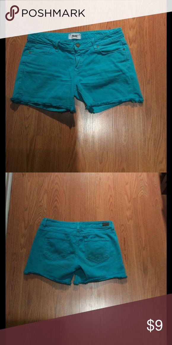 Paige shorts For sale is a pair of Paige Jeans turquoise shorts frayed at the bottom.   Well loved! Paige Jeans Shorts Jean Shorts