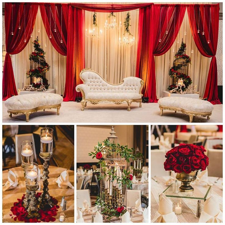 Classic red and gold for this reception! #birdcages #centerpiece #redrose #classic #elegant #reception #SKES