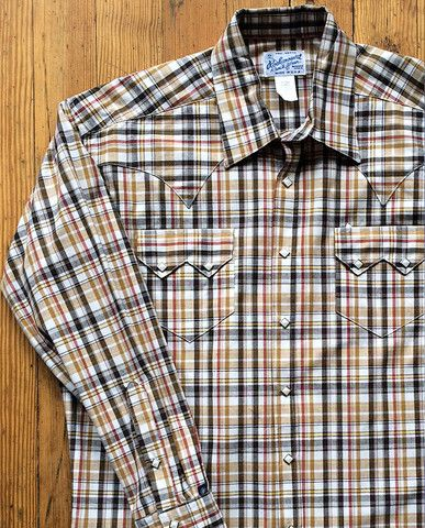 Rockmount Brown and White Plaid/Checked Western Cowboy Shirt http://broncobills.co.uk/collections/brand-new/products/brown-and-white-plaid-western-shirt