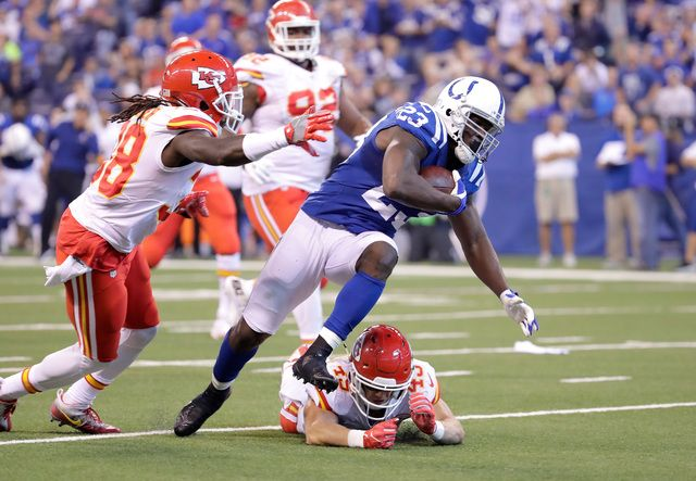 Chiefs vs. Colts:   October 30, 2016  -  30-14, Chiefs  -      INDIANAPOLIS, IN - OCTOBER 30: Frank Gore #23 of the Indianapolis Colts runs for a touchdown during the second quarter of the game against the Kansas City Chiefs at Lucas Oil Stadium on October 30, 2016 in Indianapolis, Indiana. (Photo by Andy Lyons/Getty Images)