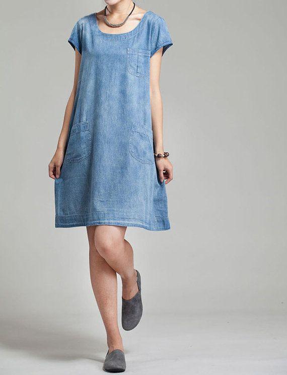 Fabrics; Cotton  Color; blue  Size  M; Shoulder 37cm, Bust 100cm, Sleeve 9cm, 86cm Length L; Shoulder 38cm, Bust 104cm, Sleeve 10cm, Length 87cm XL;