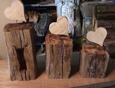 Holzbalken,alt mit Herz aus Eichenholz, Deko, 3 versch. Größen oder als Set