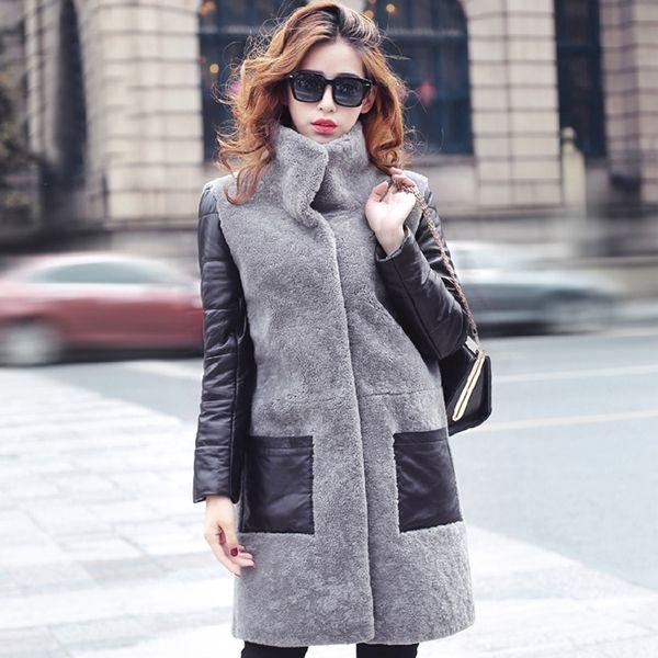 2015 новый зимний мех пальто со скидкой Хейнинг шуба Девушки длинный участок травы кожи женского