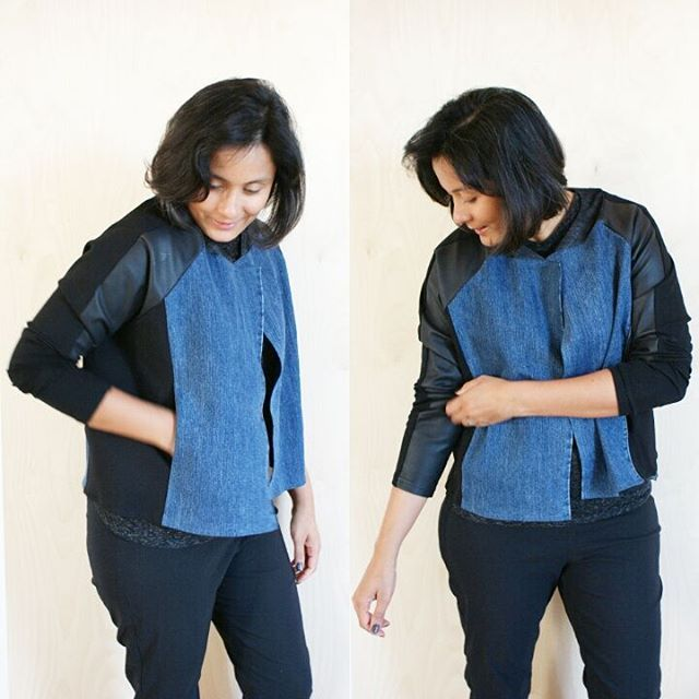 The part of the #jeanius #therefashioners2016 challenge that excited me the most was about taking the long shape and heavy seaming of jeans and making it into something else. When I came across this leather-ponte legging at the opshop, it yelled SLEEVES. This part of it may not be 100% true to the denim theme but I'm ok with that.. ☺ This was hacked from the  #grainlinestudio #lindensweatshirt with added side panels, curved neckband and pockets... Also,  I didn't have to sew the sleeve seam…