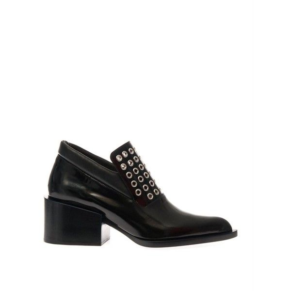 Jil Sander Mid-heel leather eyelet-detail loafers ($361) ❤ liked on Polyvore featuring shoes, loafers, black, chunky black shoes, block heel shoes, leather loafers, black loafers and chunky loafers