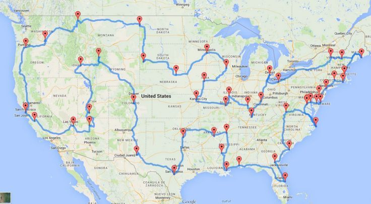 perfect-american-road-trip-route. 48 states. 50 landmarks. 9.33 days of driving time.