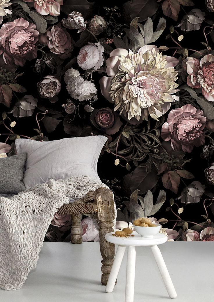 This dark floral wallpaper mural is the perfect amount of feminine and modern.