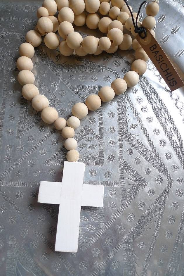 Basichus Sweden Ketting houten bol kraal, groot wit kruis