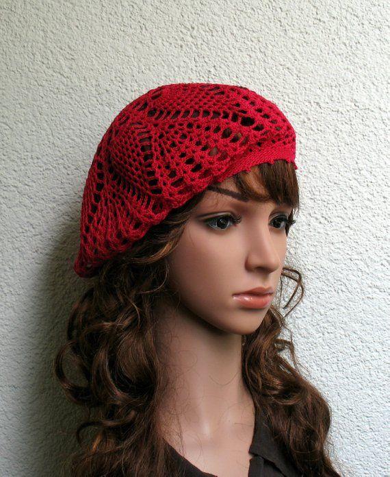 aa7154d5e Women's Crochet Summer beret Summer hat Light Red Cotton beret hat ...