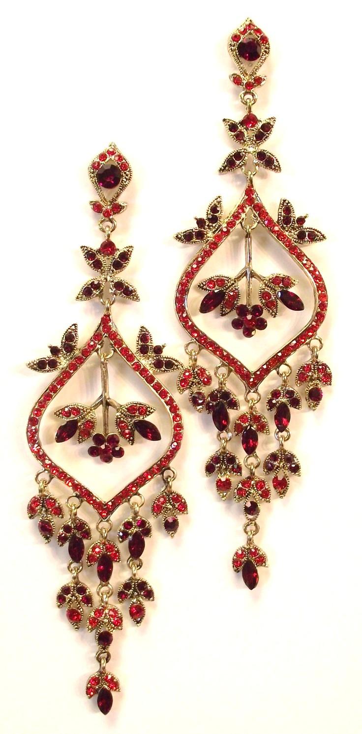 Gold Red Swarovski Crystal Chandelier Pageant Earrings