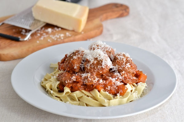 Delicious comfort food! Spaghetti and meatballs with lots of parmesan