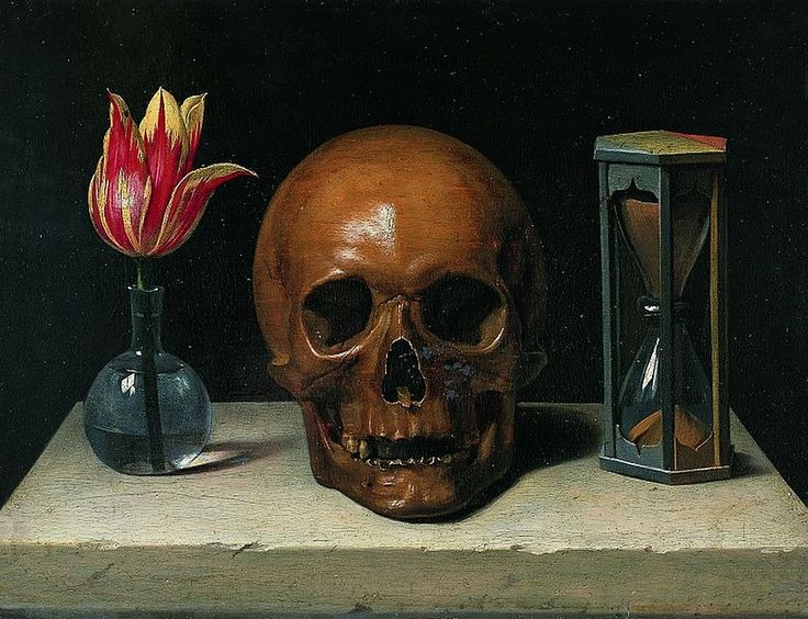 Philippe de Champaigne's Vanitas (c. 1671) is reduced to three essentials: Life, Death, and Time https://upload.wikimedia.org/wikipedia/commons/thumb/a/ae/StillLifeWithASkull.jpg/782px-StillLifeWithASkull.jpg: