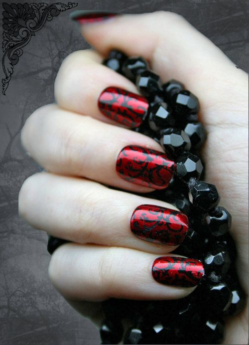 Red Gothic Baroque Press On Fake Nails -- I can't stand fake nails, but I love the design on these.