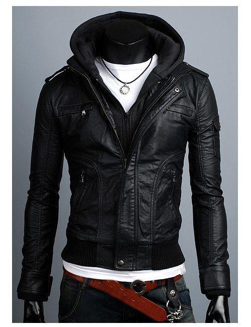 Handmade black hooded Leather Jacket men leather by Besteshop, $169.99