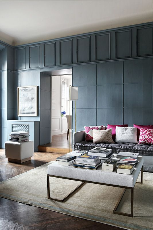 I Love This Room With Its Charcoal Wall And Pink Cushions