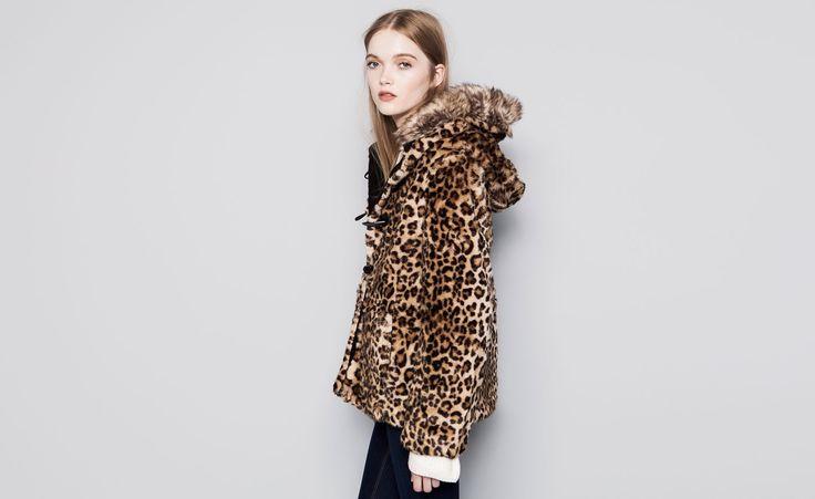 Pull&Bear - damen - mäntel - parka mit fell mit leopardenprint - rostbraun - 09715327-I2014
