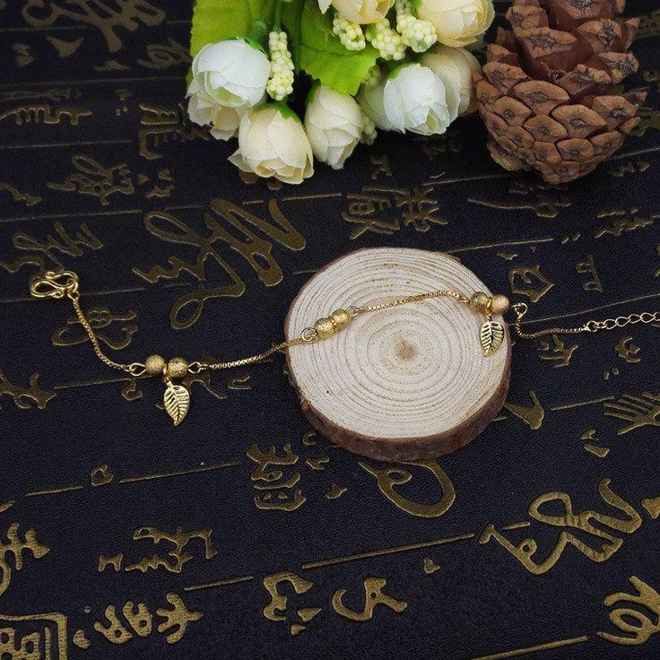 18K Gold Anklets Simple Leaves Ball Tassel Anklet for Women Gift