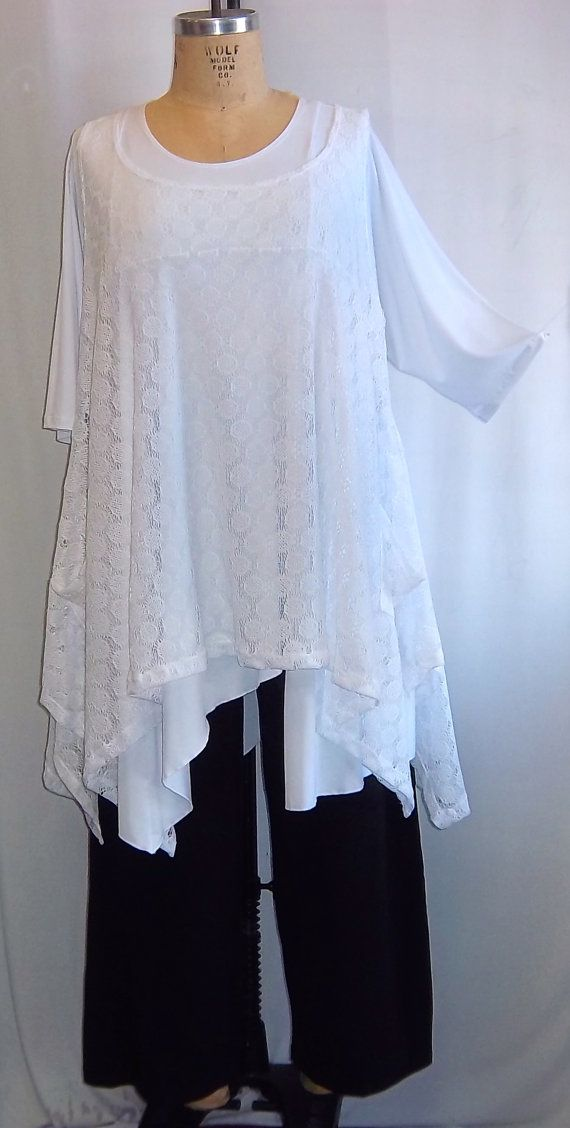 Coco and Juan Plus Size Top Lagenlook Layering Tunic Top White Lace Size 1 Fits 1X,2X  Bust to 50 inches