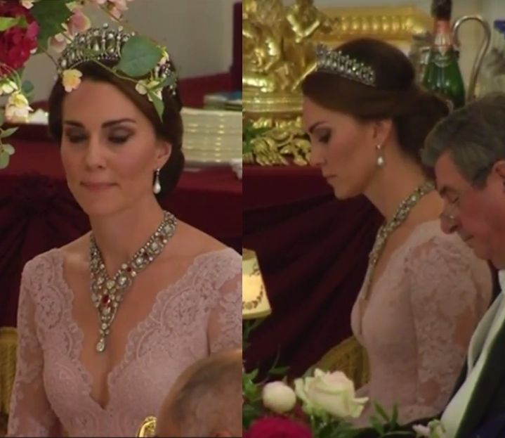 Duchess Kate: The Duchess Sparkles in the Cambridge Lovers Knot Tiara, Dazzling Jewels & A Marchesa for State Banquet!