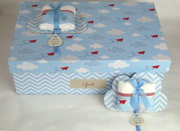 Lembrancinha Nuvem Toalha avião de papel