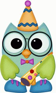 Silhouette Online Store - View Design #56076: birthday owl w party blower pnc