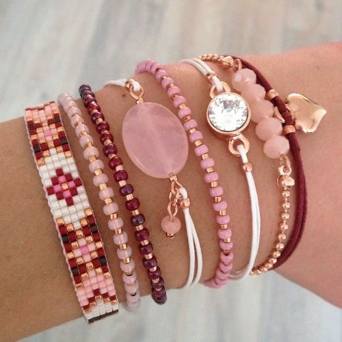 Bordeaux & Pink bracelets with rosegold - Mint15   www.mint15.nl: