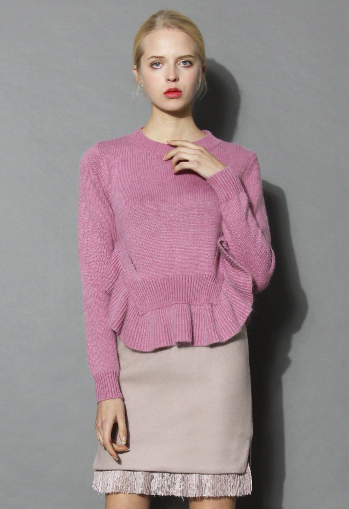 Adorable Frilling Hemline Sweater in Violet - New Arrivals - Retro, Indie and Unique Fashion