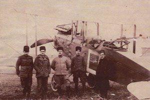 Vecihi Hürkuş (near of plane), first pilot of Turkish Republic Army, during the Turkish War of Independance, 1921