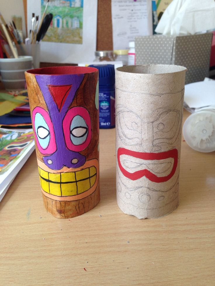DIY Tiki man, I have created these from standard loo rolls, with paint, sealed with Mod podge and a bit of imagination!