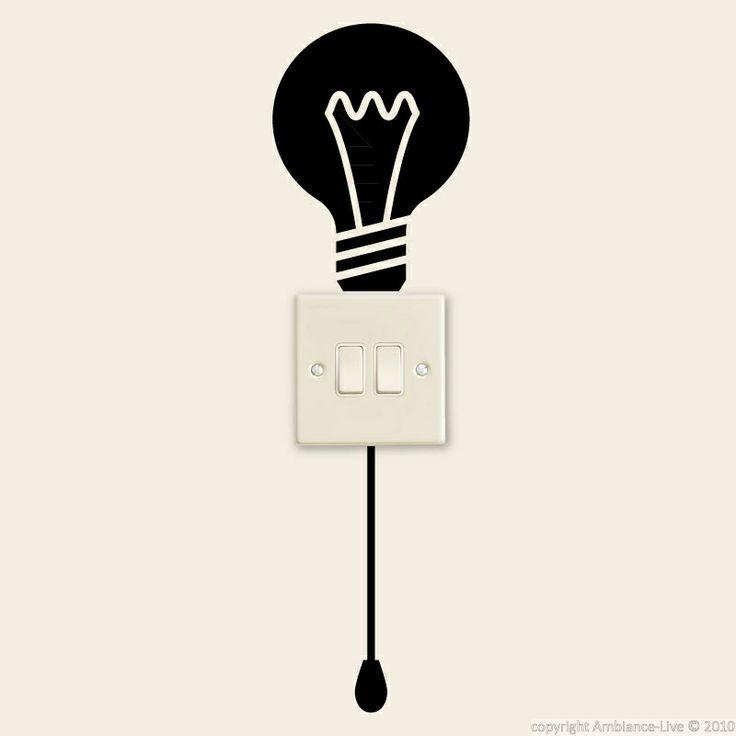 stickers avec ampoule et un commutateur - stickers prises   ambiance-live