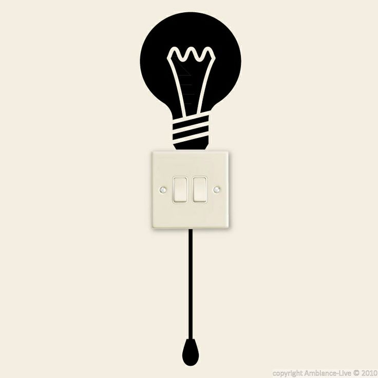 stickers avec ampoule et un commutateur - stickers prises | ambiance-live