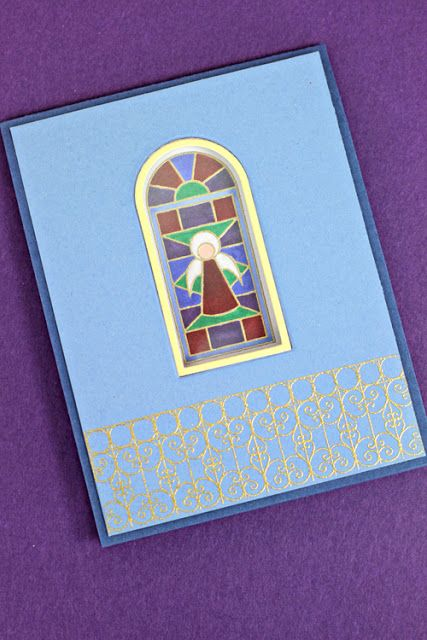 erin's window card with stained glass on the inside - love the depth!