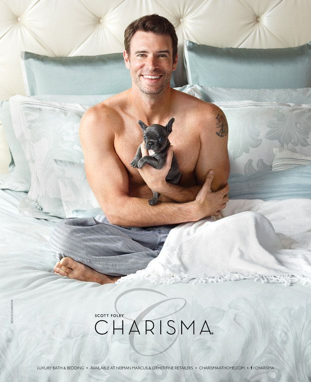 Scott Foley Shirtless And Holding Puppies