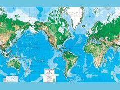 Wereldkaart Posterbehang Natuurkundig