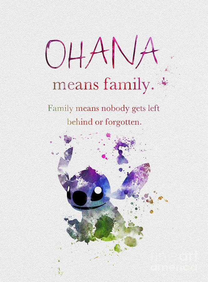 Lilo And Stitch Mixed Media – Ohana Means Family 3…
