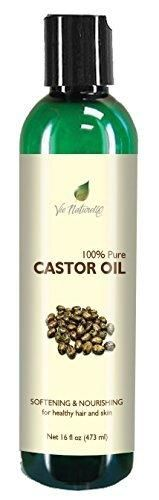 Pure Castor Oil - Cold Pressed for Eyelashes Skin Hair Growth Shampoo - 100 % Pure Hexane Free - No Fillers Dyes or Artificial Ingredients of Any Kind - 16 Fl Oz