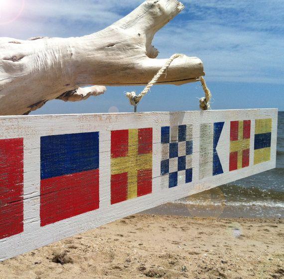 Custom Nautical Flag Sign on Reclaimed Wood by TheVintageBeach, $54.00