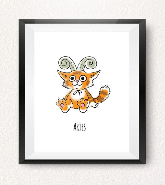 ARIES (March 21 - April 19)  This Aries art print is part of our original Cat-strology collection!