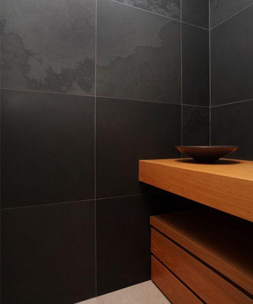 #wallcovering #dark  #ardesia #stone #bathroom #bath