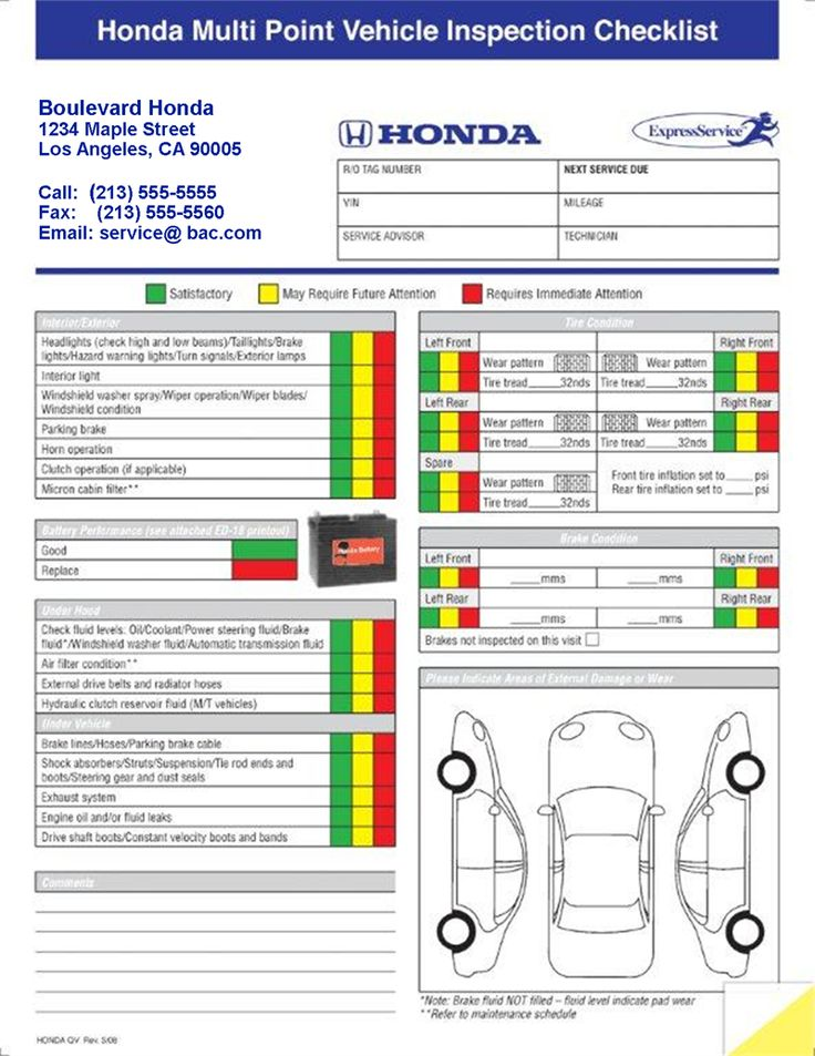 multi point inspection sheet in 2020 Vehicle inspection