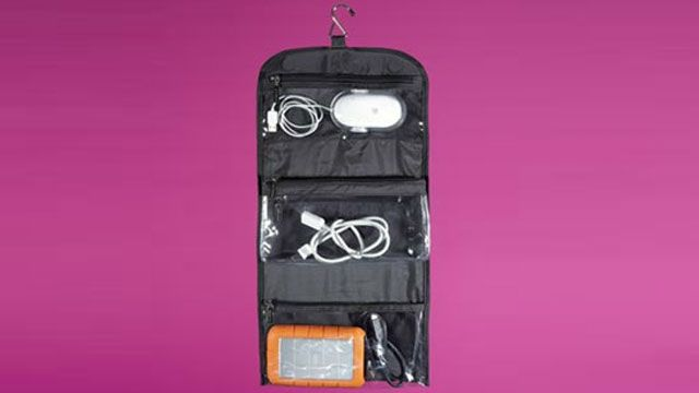 Keep Cords and Gadgets Organized in a Hanging Toiletries Bag